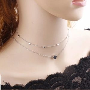 925 SILVER 2 LAYER CHOKER HEART NECKLACE SILVER